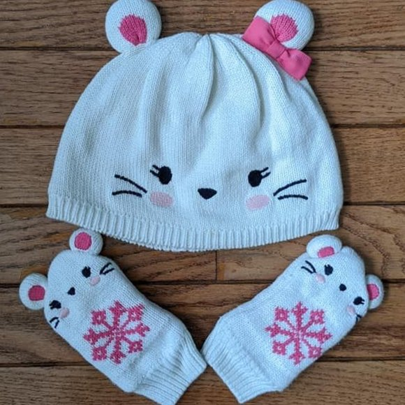 Gymboree Other - Gymboree Cat Mouse Hat and Mittens 12 - 24 Months